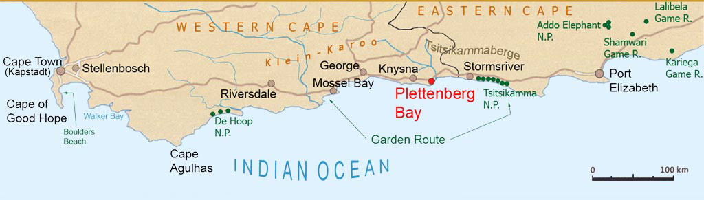 Map of the Garden Route South Africa